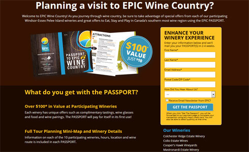 Landing Page EPIC Wineries